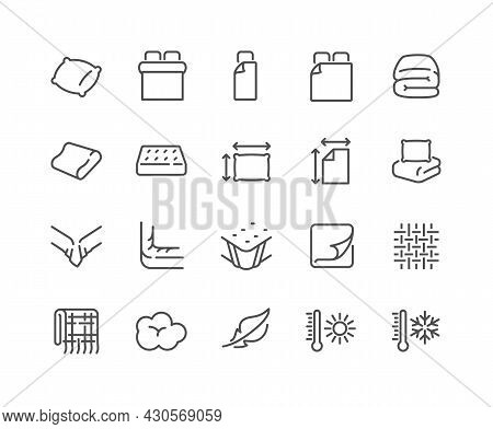 Simple Set Of Linens Related Vector Line Icons. Contains Such Icons As Blanket, Single And Double Be
