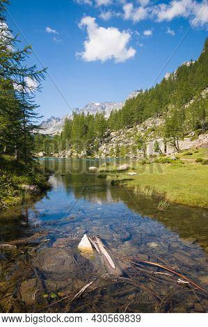 Idyllic View Of The Small Lake Near Crampiolo Known As The Lago Delle Streghe, Alpe Devero, Antigori