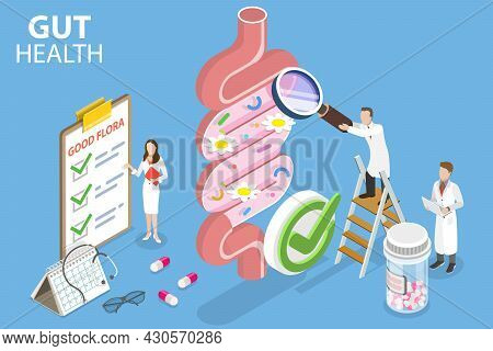 3d Isometric Flat Vector Conceptual Illustration Of Gut Health, Healthy Gut Microbiota