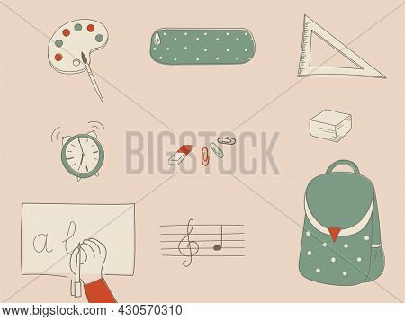 Back To School Supplies And Stationery Supplies.backpack, Pencil Case, Sheet Music, Writing Paper, P