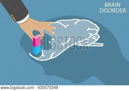 3d Isometric Flat Vector Conceptual Illustration Of Brain Disorder, Memory Loss