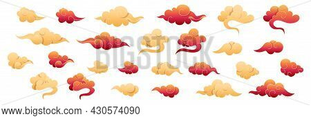 Chinese Clouds Collection. Red And Gold Clouds In Oriental Style. Design Japanese Elements Set. Asia
