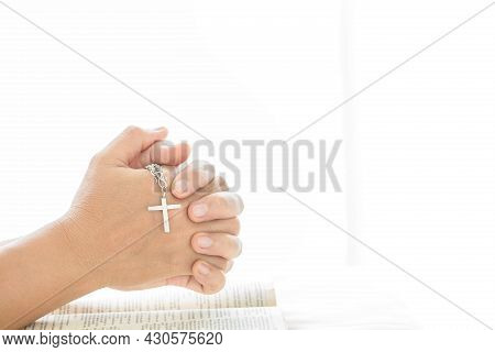 Close Up Woman Hands With Cross