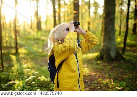 Little Boy Scout With Binoculars During Hiking In Autumn Forest. Child Is Looking With Binoculars. C