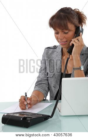 Secretary busy at work