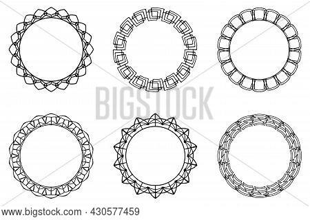 Vector Frame Set, Collection Of Black Linear Ornate Frames. Rounded Abstract Frames, Vector Frame Se
