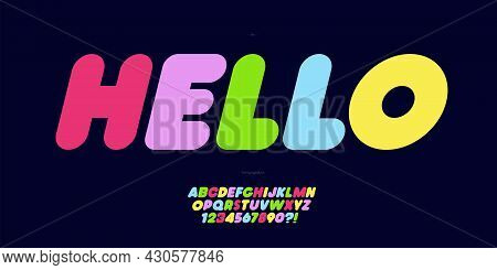 Vector Font Hello Name Colorful Modern Typography For Poster, Event Decoration, Motion, Video, Game,