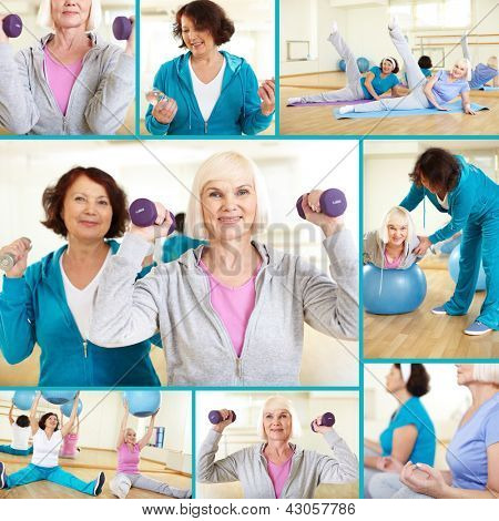 Collage of sporty females doing physical exercises in sport gym