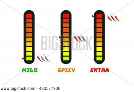 Hot Chili Pepper Scale Indicator - Mild, Extra For Food Menu, Hot Sauce, Culinary Show. Pepper Sauce