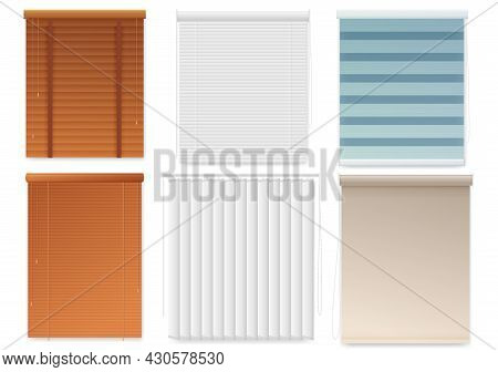 Window Blinds Or Shutters Template, Realistic Set.