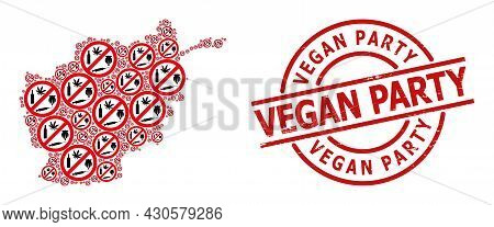Grunge Vegan Party Seal, And Forbid Addiction Drugs Collage Of Afghanistan Map. Red Round Badge Has
