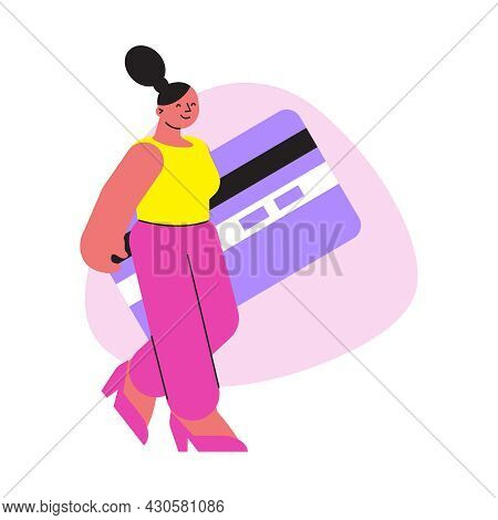 Online Shopping Flat Composition With Female Character Carrying Big Credit Card For Remote Payment V
