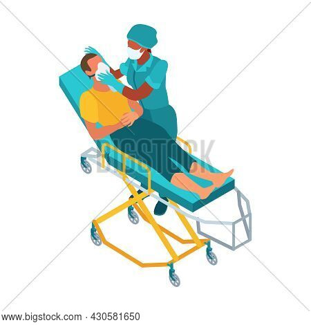 Isometric Infectious Disease Doctor Scientist Virologist Composition With Crash Cart Patient And Doc
