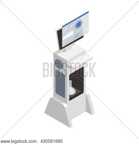 Microbiology Biotechnology Isometric Composition With Isolated Image Of Computer Appliance Analyzing