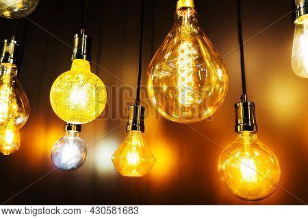 Led Bulbs. Modern Light Bulbs In Retro Style.