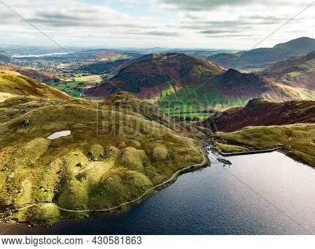 Aerial View Of Stickle Tarn Lake, Located In The Lake District, Cumbria, Uk