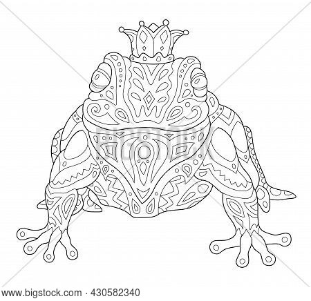 Beautiful Monochrome Linear Vector Illustration For Coloring Book Page With Stylized Crowned Frog Is