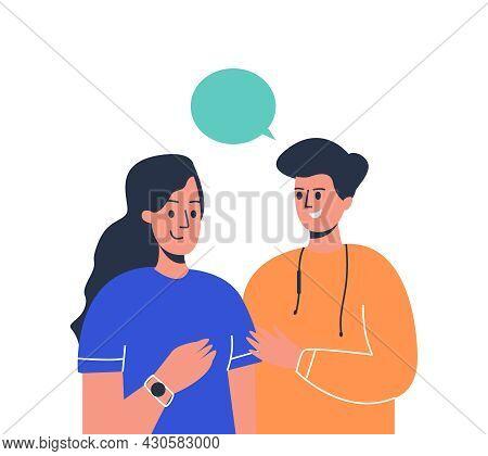 A Man And A Woman Communicate, A Dialogue Between A Woman And A Man. Live Communication, A Dialogue