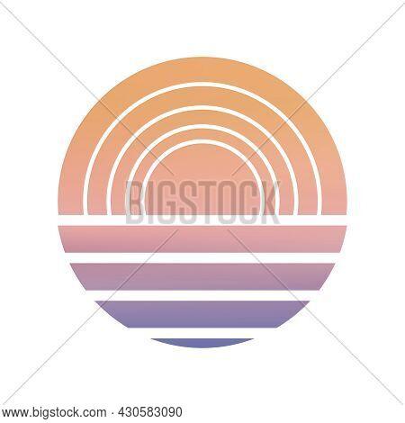 Design Of Sunset Striped Backdrop. Sunset Striped Background. Sunrise Vintage Wallpaper.