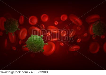 Coronavirus Virus In Amongst Red Blood Cells In The Bloodstream Of An Infected Person, Colored Vecto
