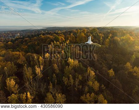 Aerial View Of The Three Crosses Monument Overlooking Vilnius Old Town On Sunset. Vilnius Landscape