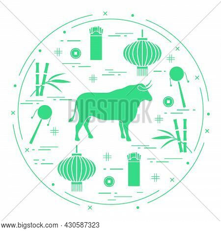 Happy New Year Vector Illustration Ox, Bamboo, Chinese Lantern, Coin For Luck, Envelope, Rattle Drum