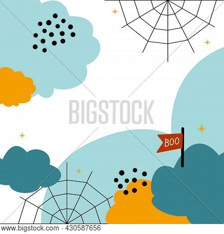 Cute Background For Halloween. Clouds, Boo And Cobweb. Simple Flat Vector Elements For Design.