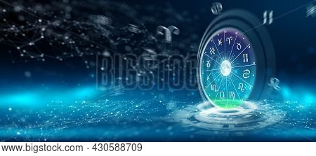 Astrological Zodiac Signs Inside Of Horoscope Circle. Astrology, Knowledge Of Stars In The Sky Over