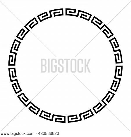Meander Circle With Simple Meander Pattern. Circle Frame And Decorative Border, Made Of Angular Spir