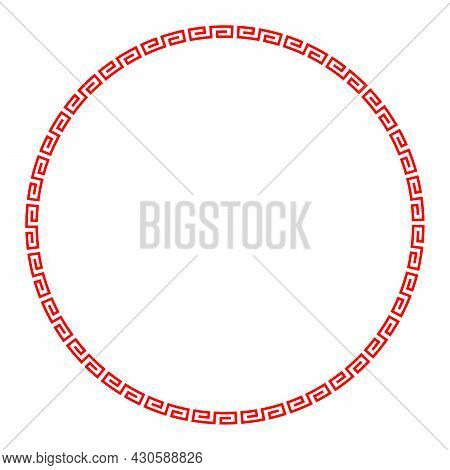 Red Meander Circle With Simple Meander Pattern. Frame And Decorative Border, Made Of Angular Spirals