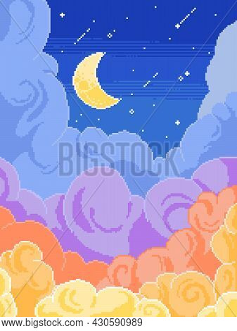 Beautiful Illustration Of Pixel Art. Fantastic, Colorful Clouds On A Moonlit Night