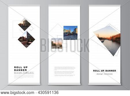 Vector Layout Of Roll Up Mockup Design Templates With Geometric Simple Shapes, Lines And Photo Place