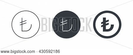 Sign Of The Turkish Lira. Sign Of The Turkish Currency. Money Symbols Of The World. Vector Illustrat