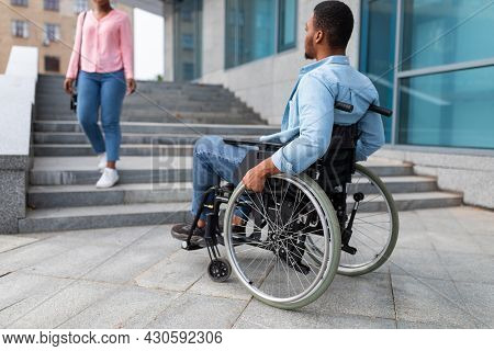 Black Disabled Guy Suffering From Lack Of Wheelchair Friendly Facilities, Cannot Enter Building With