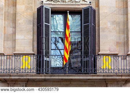 Catalonia Flag On The Balcony In Barcelona