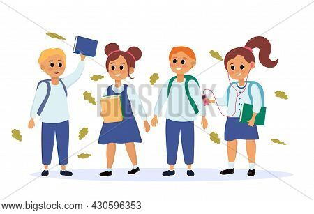 Collection Of Young Schoolchildren. Boys And Girls In School Uniforms With Books And Backpacks Go To