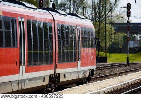 Balatonszentgyorgy, Hungary - May 8, 2021: International And Regional Railway Transportation. Passen