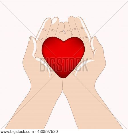 The Hands Are Holding A Red Heart. Health, Charity, The Concept Of Life. World Heart Day, World Heal