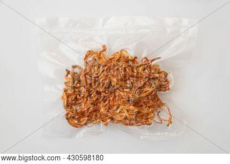 Dry Fresh Cordyceps In Vacuum Packing. Dry Cordyceps. Treatment With Adenosine. Dry Fresh Cordyceps.