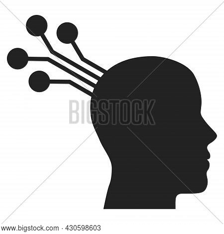 Brain Machine Interface Icon With Flat Style. Isolated Vector Brain Machine Interface Icon Image On