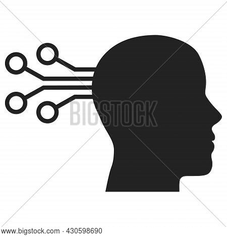 Mind Interface Icon With Flat Style. Isolated Vector Mind Interface Icon Image On A White Background