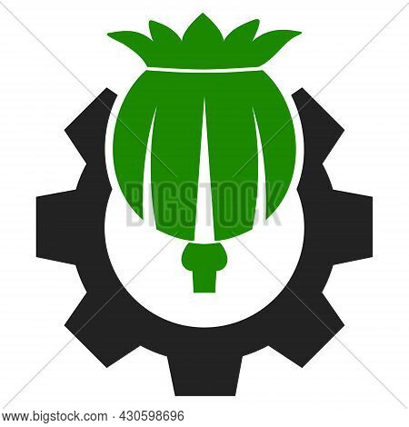 Opium Industry Icon With Flat Style. Isolated Vector Opium Industry Icon Image On A White Background