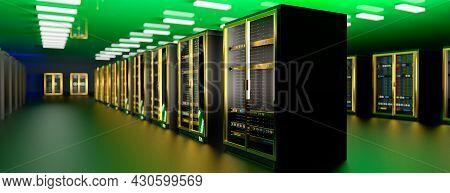 Server. Servers Room Data Center. Backup, Mining, Hosting, Mainframe, Farm And Computer Rack With St