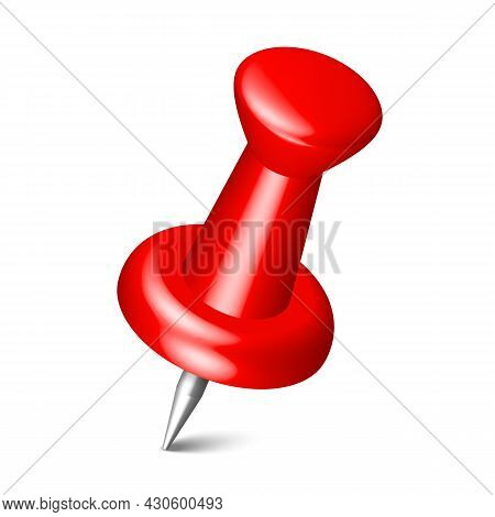 Realistic Red Thumbtack Pin Isolated On White Background. Plastic 3d Push Pin, Board Needle For Pape