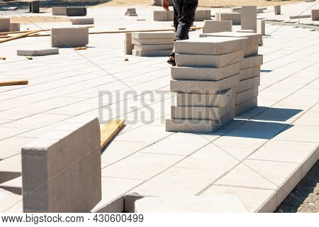 Sidewalk Concrete Pavement Bricklaying Reconstruction With Square Stone Blocks Outdoor Backgrounds