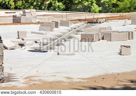 Sidewalk Concrete Pavement Bricklaying Construction With Square Stone Blocks Outdoor Backgrounds