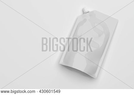 White Plastic Pouch Bag With A Corner Lid Mock-up Template For Design. Copy Space. 3d Rendering Illu