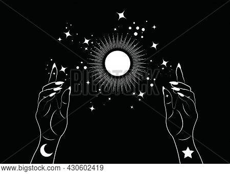 Mystical Woman Hands Alchemy Esoteric Magic Sun Symbol, Sacred Geometry. Boho Style Logo In White Ou
