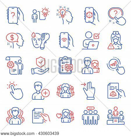 People Icons Set. Included Icon As Insurance Hand, Group, Business Idea Signs. Add Person, Idea, Emp