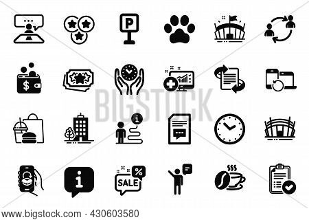 Vector Set Of Business Icons Related To Recovery Devices, Arena Stadium And Parking Icons. Safe Time